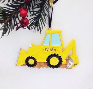 Backhoe Personalized Christmas Ornament / Construction Christmas Ornament