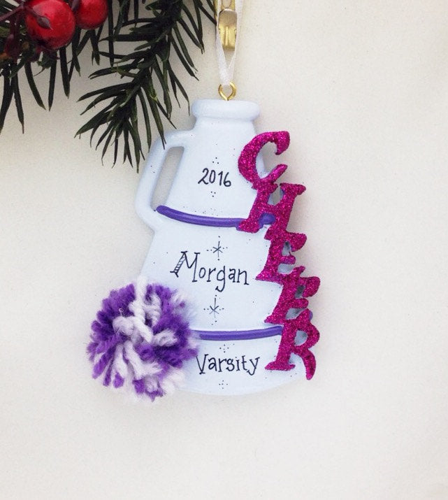 Cheerleader Christmas Ornament / Cheerleading Ornament with Purple Pom Pom and Megaphone / Cheer Team Ornament
