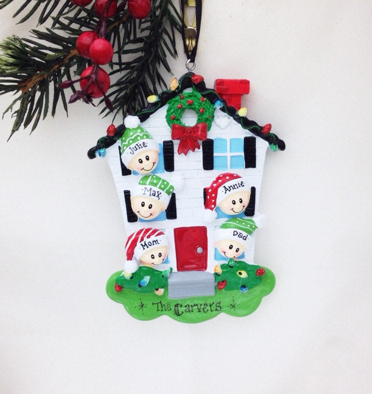 Family of 5 Home for Christmas Personalized Ornament