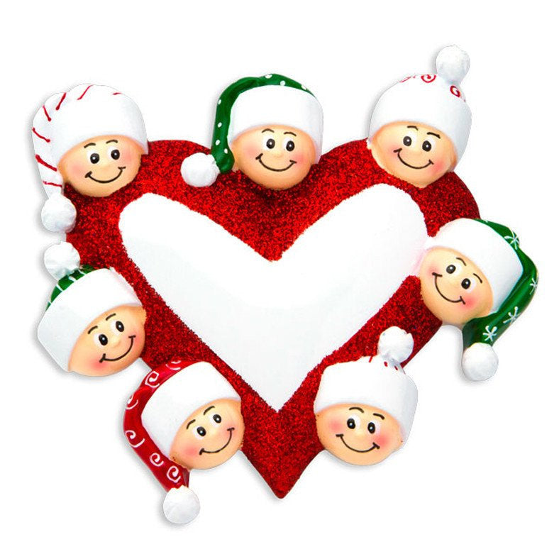 7 Happy Faces Around a Heart - Personalized Christmas Ornament for family of 7 - Custom names
