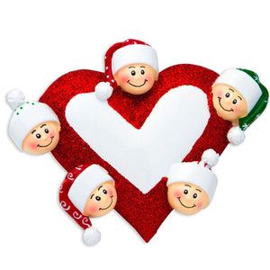 Family of 5 Around a Heart Personalized Christmas Ornament