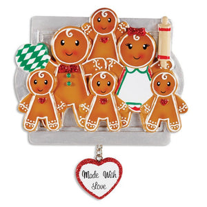 6 Gingerbread Cookies Personalized Christmas Ornament
