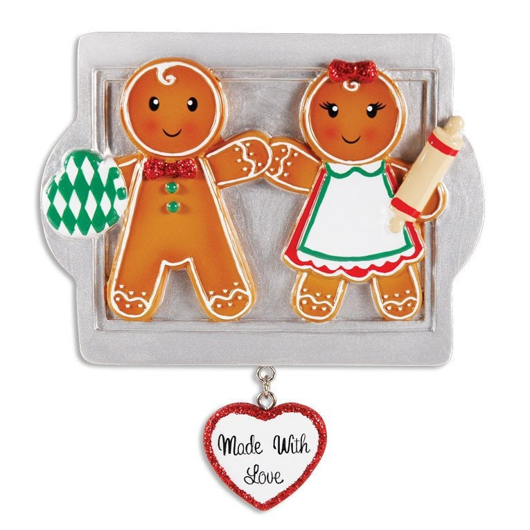 2 Gingerbread Cookies Personalized Christmas Ornament