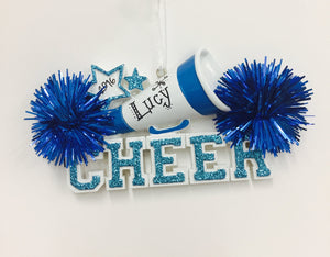 Cheerleader Christmas Ornament / Cheerleading Ornament Blue Pom Poms / Personalized Christmas Ornament / Cheer Team Ornament