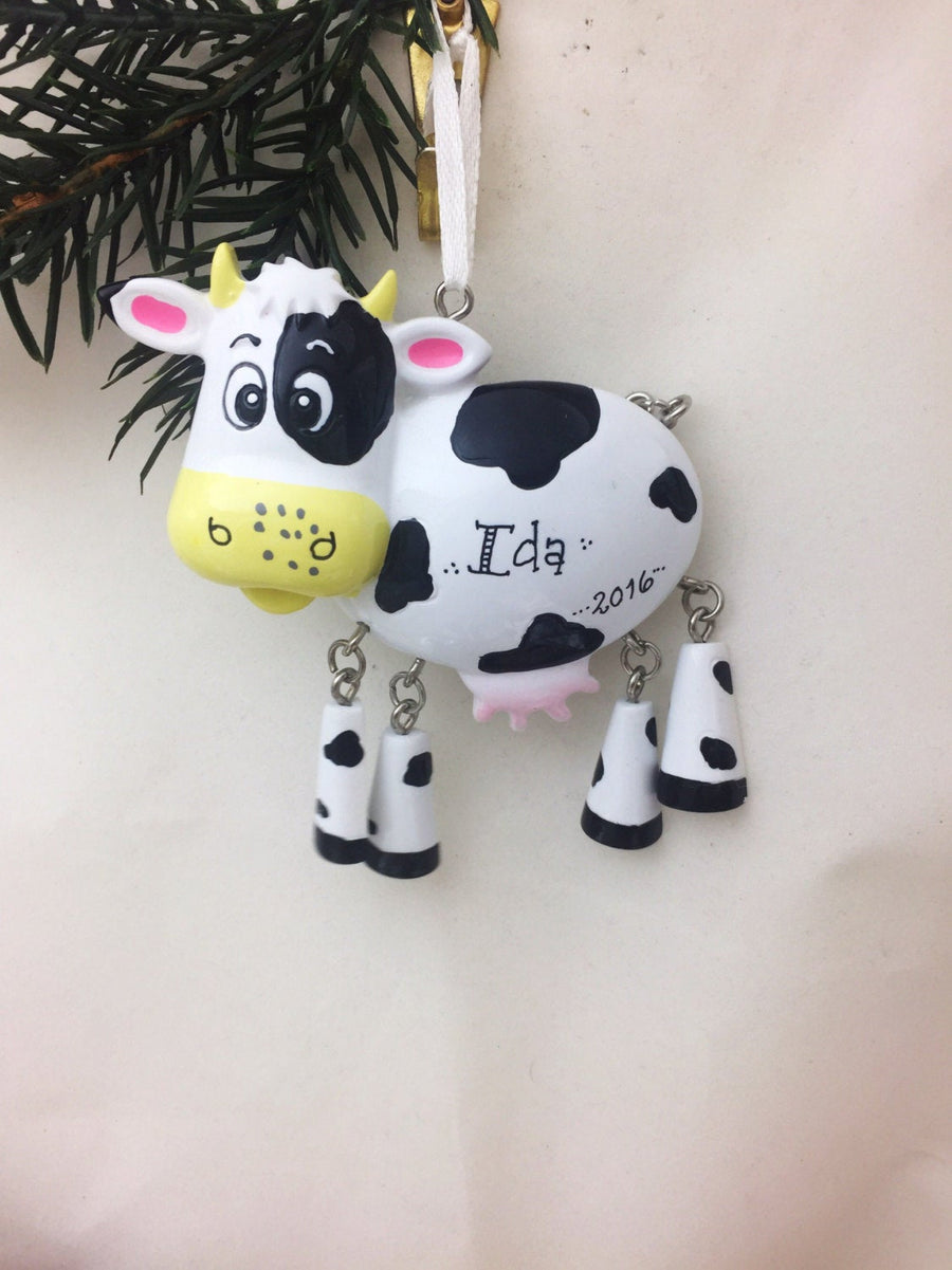 Cow with Dangly Legs Personalized Christmas Ornament / Farm Ornament / Hand Personalized / Child Ornament / Toddler Ornament