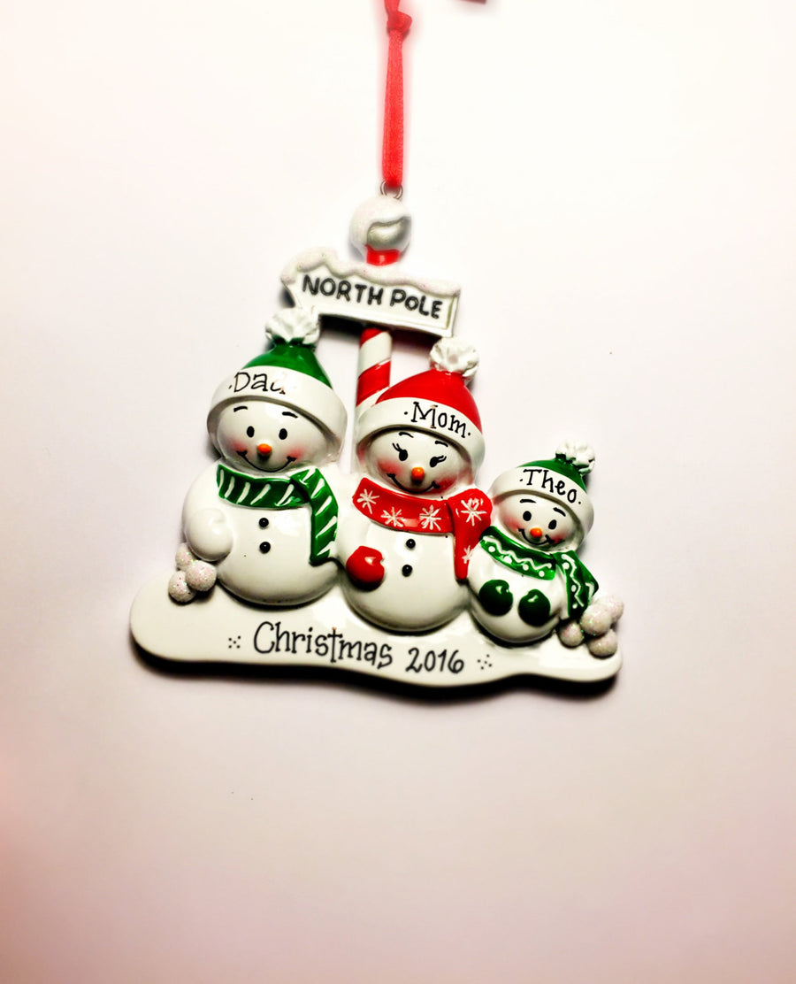 Family of 3 at the North Pole Personalized Christmas Ornament