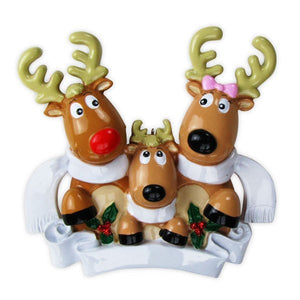 3 Reindeer with Scarves Personalized Christmas Ornament