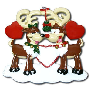 Reindeer Love Personalized Christmas Ornament / Couple Ornament / Our First Christmas