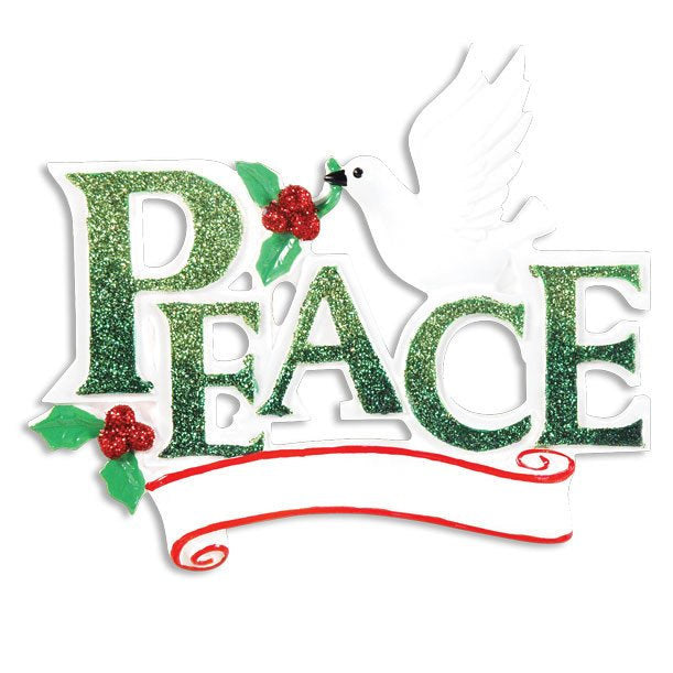 PEACE Personalized Christmas Ornament With a White Dove / Peace on Earth / Peace in the New Year