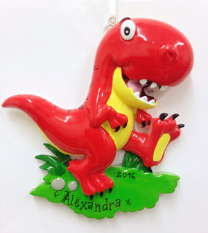 Red Tyrannosaurus Rex Dinosaur Personalized Christmas Ornament / T-Rex / Gift for kids