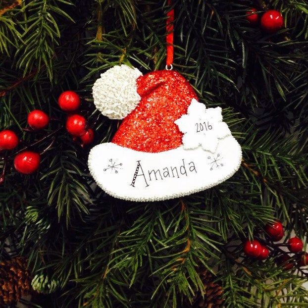 Sparkly Santa Hat Personalized Christmas Ornament