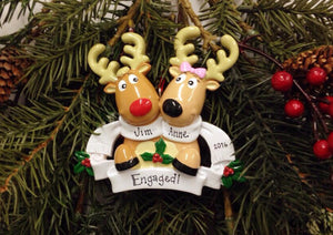 Reindeer Couple with Scarves Personalized Christmas Ornament / Engagement Ornament / Couple Ornament / Our First Christmas