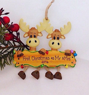 2 Moose Personalized Christmas Ornament