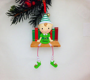 Little Elf Personalized Christmas Ornament / Gift for kids