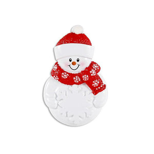 Little Snowman Personalized Christmas Ornament / Snowman and Snowflake