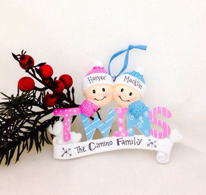 Baby Twins First Christmas Personalized Ornament / Boy and Girl Twins