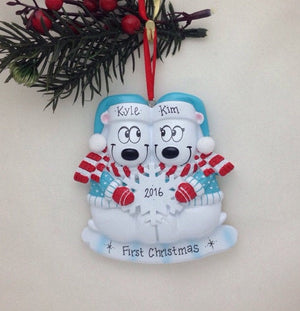 Polar Bear Couple - Personalized Christmas Ornament - Couple Ornament - First Christmas - Engaged Ornament