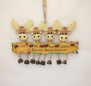 4 Moose Personalized Christmas Ornament