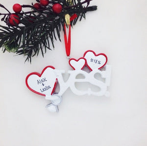 Yes! Hearts & Engagement Rings / First Christmas Ornament / Personalized Ornament / Engaged Couple / Engagement Ornament
