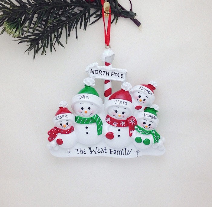 Family of 5 at the North Pole Personalized Christmas Ornament