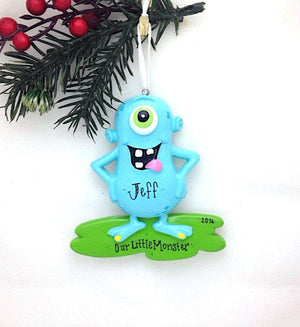 Blue Monster Personalized Christmas Ornament / Funny Ornament for Kids