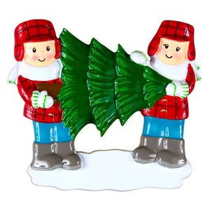Couple Choosing a Christmas Tree Personalized Ornament
