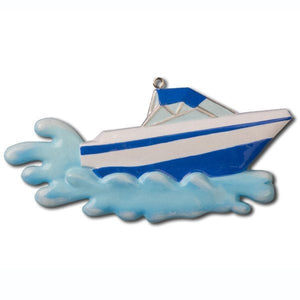 Motorboat Personalized Christmas Ornament / Blue / Boat / Speedboat / Beach / Lake / Personalized Name or Message