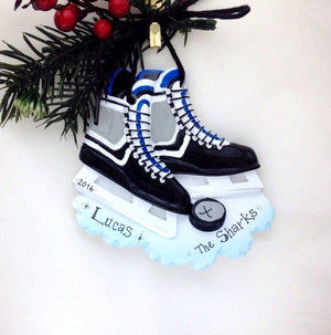 Ice Hockey Personalized Christmas Ornament / Black and Blue Ice Hockey Skates Ornament