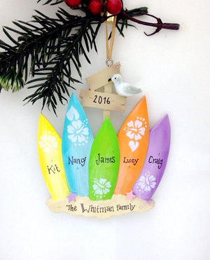 5 Surfboards Personalized Christmas Ornament