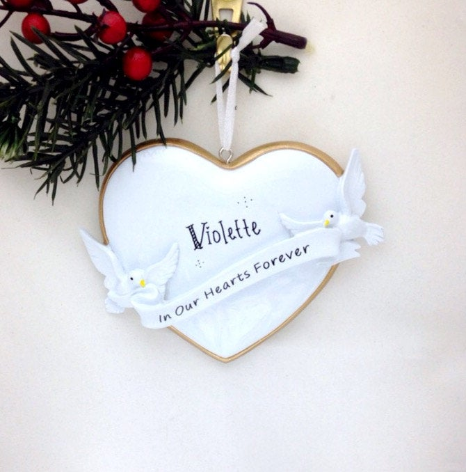 Memorial Personalized Christmas Ornament / Memorial Ornament / In Our Hearts Forever / Gold Edged Heart with Doves