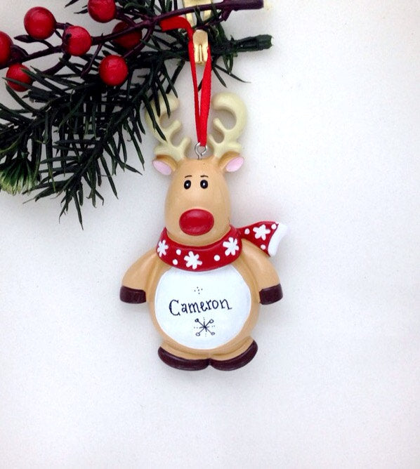 Little Reindeer Personalized Christmas Ornament / Rudolph Ornament / Toddler Christmas Ornament / Child Ornament