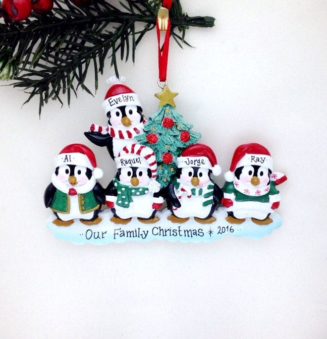 Family of 5 Penguins with a Christmas Tree Personalized Ornament