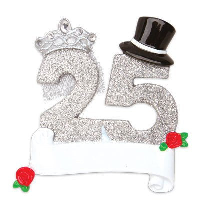 25th Anniversary Personalized Christmas ornament - Couple ornament - Anniversary Ornament
