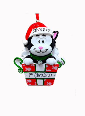 Black and White Cat Personalized Christmas Ornament