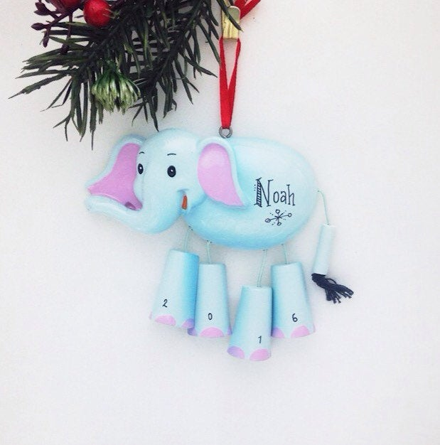 Elephant Personalized Christmas Ornament - Zoo Animal Ornament - Hand Personalized Christmas Ornament