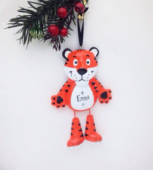 Tiger Personalized Christmas Ornament - Zoo Animal Ornament - Hand Personalized Christmas Ornament