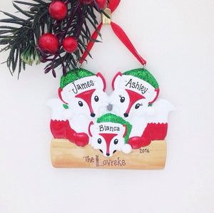 3 Red Foxes Personalized Christmas Ornament