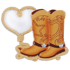 Cowboy Boots and Lasso Heart Christmas Ornament / Cowboy Love / Hand Personalized Christmas Ornament