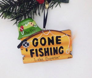 Gone Fishing Personalized Christmas Ornament / Fishing / Fisherman / Personalized / Dad Gift