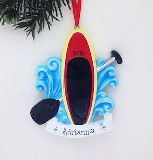 Stand Up Paddleboard Personalized Christmas Ornament / Paddle Boarding Ornament / Hand Personalized Christmas Ornament