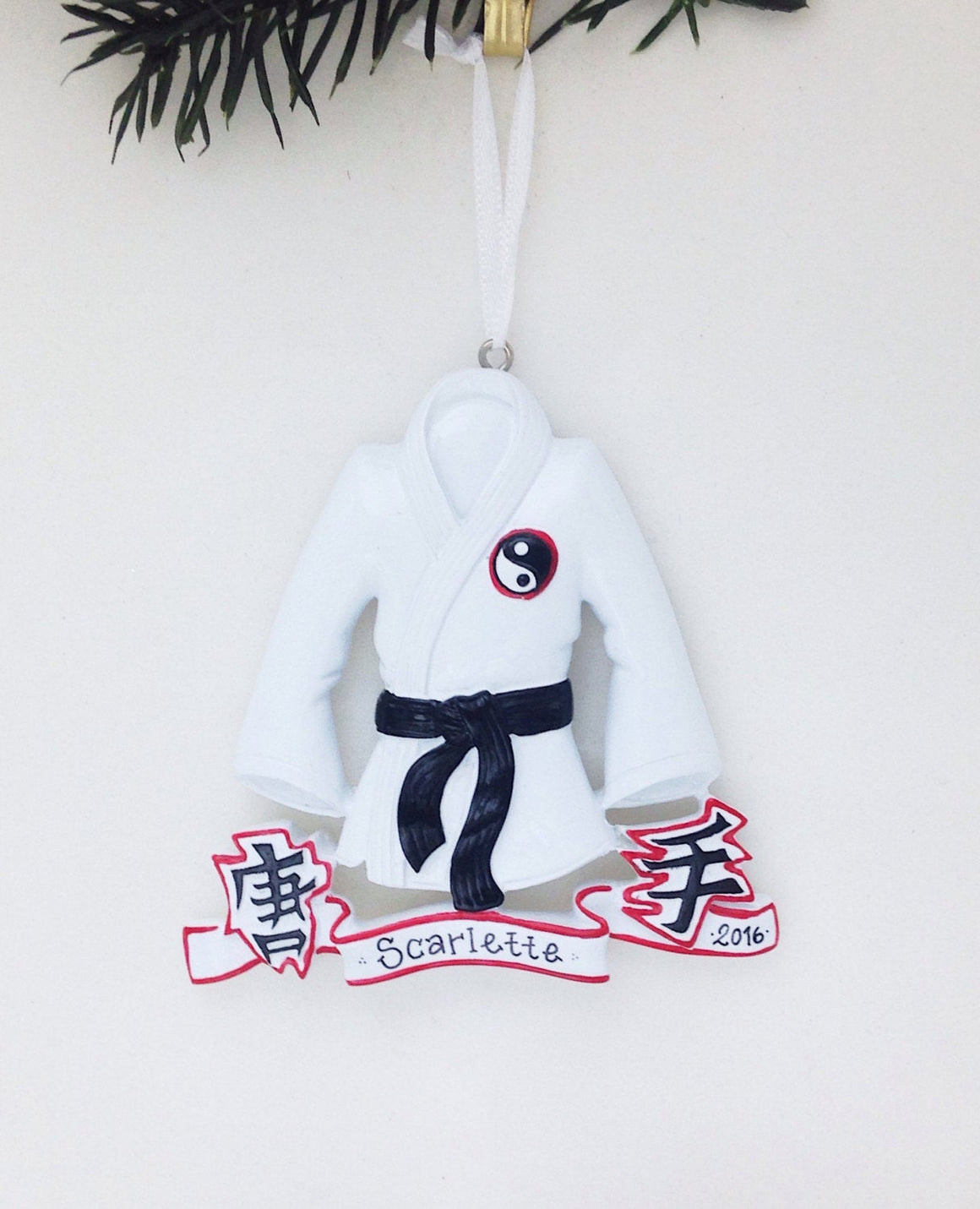 Martial Arts Personalized Christmas Ornament / Karate Ornament / Black Belt