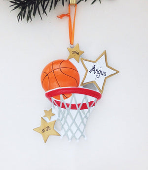Basketball Personalized Christmas Ornament / Basketball Ornament / Hand Personalized Christmas Ornament