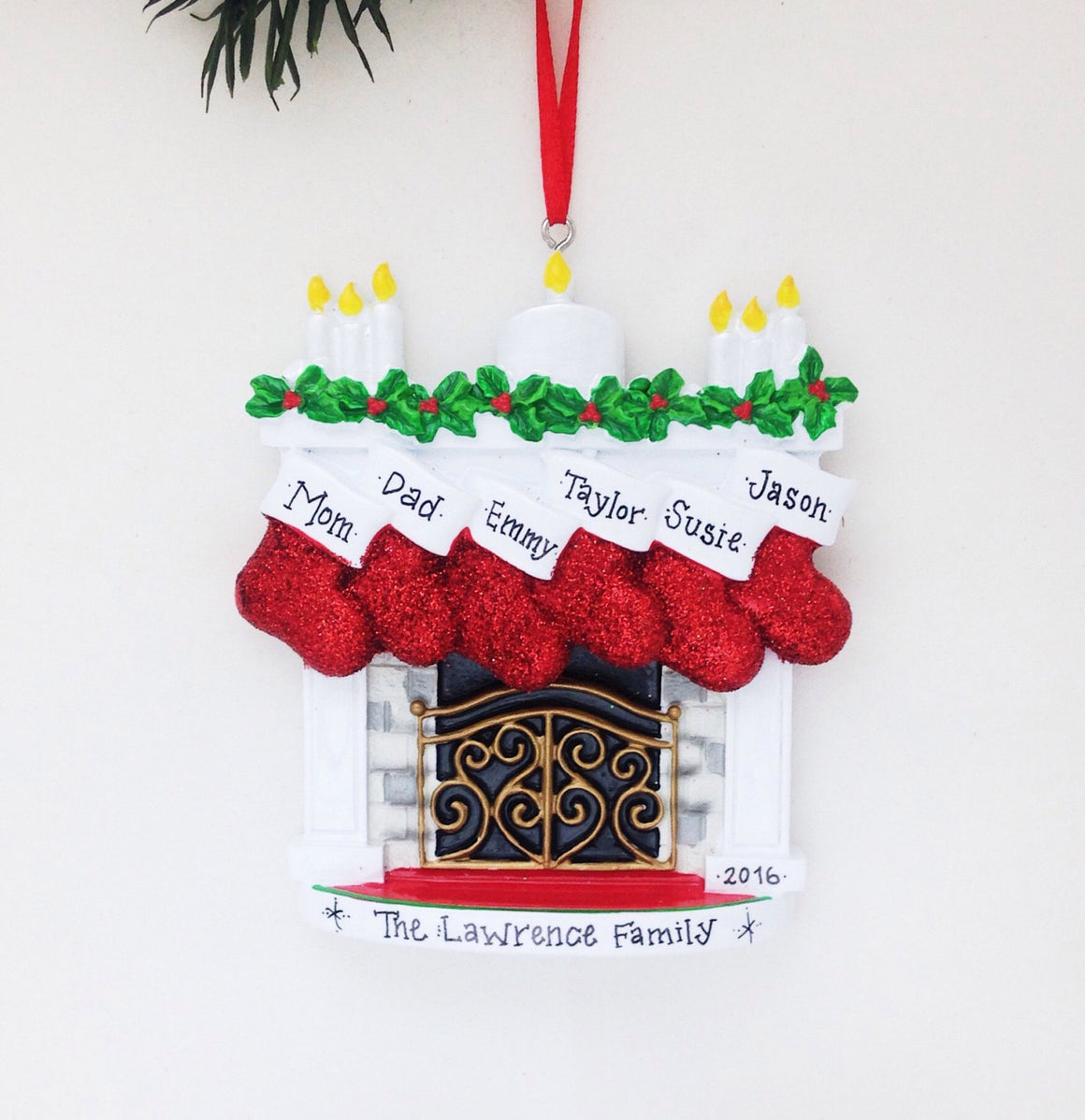 6 Stockings by the Fireplace Ornament / Personalized Christmas Ornament / 6 Family Christmas Ornament