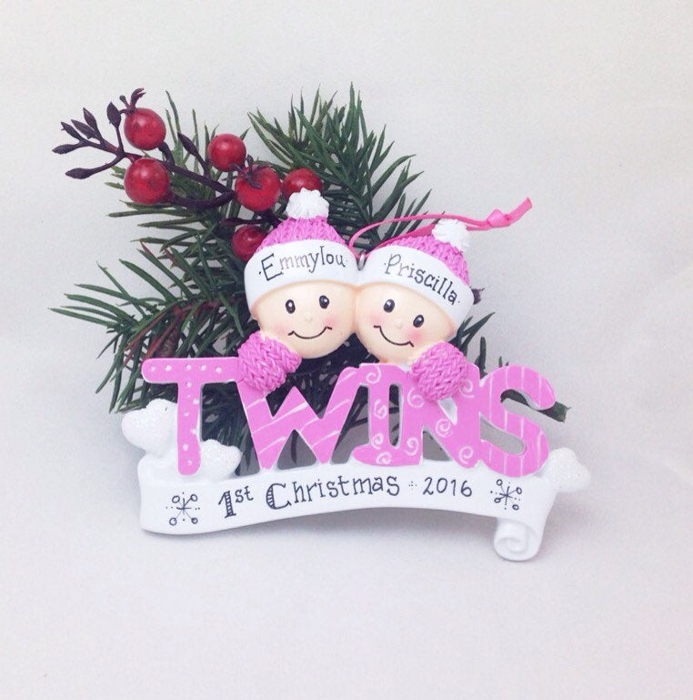 Baby Twins First Christmas Ornament / Girl Twins Personalized Ornament