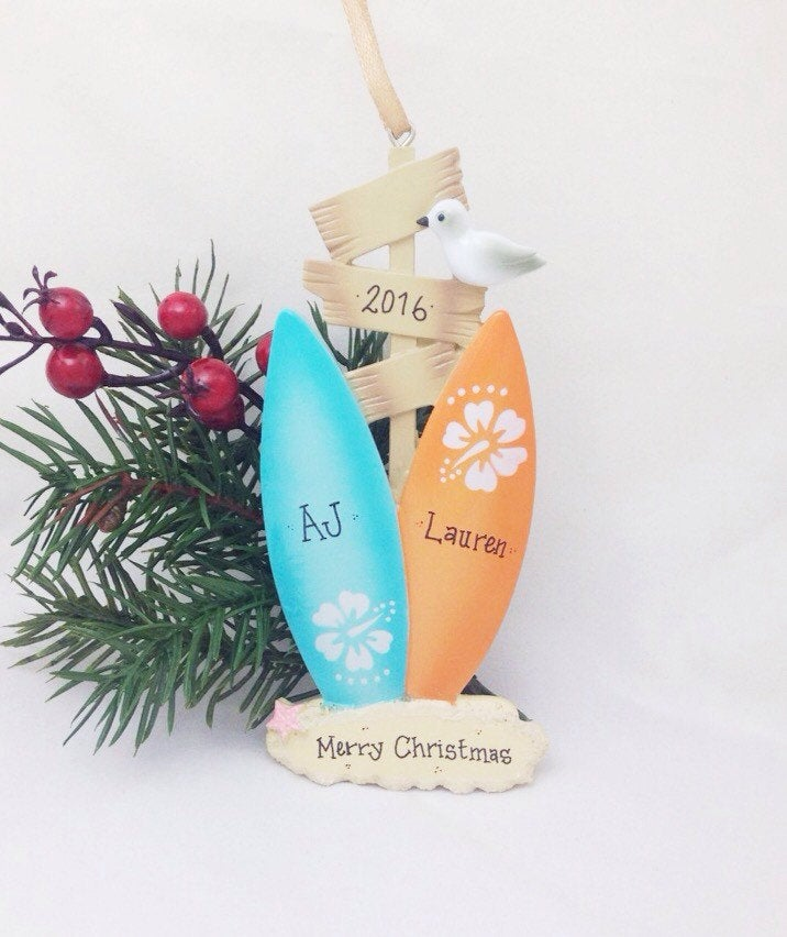2 Surfboards Personalized Christmas Ornament