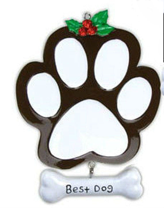 Best Dog Paw Print Ornament / Brown Dog/ Chocolate Lab / Personalized Christmas Ornament / Puppy Ornament / Dog Ornament