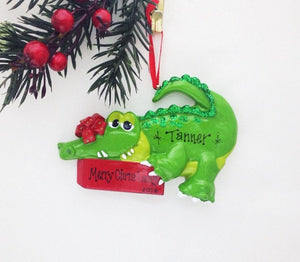Crocodile Personalized Christmas Ornament / Crocodile / Animal Ornament / Reptile / Hand Personalized Christmas Ornament