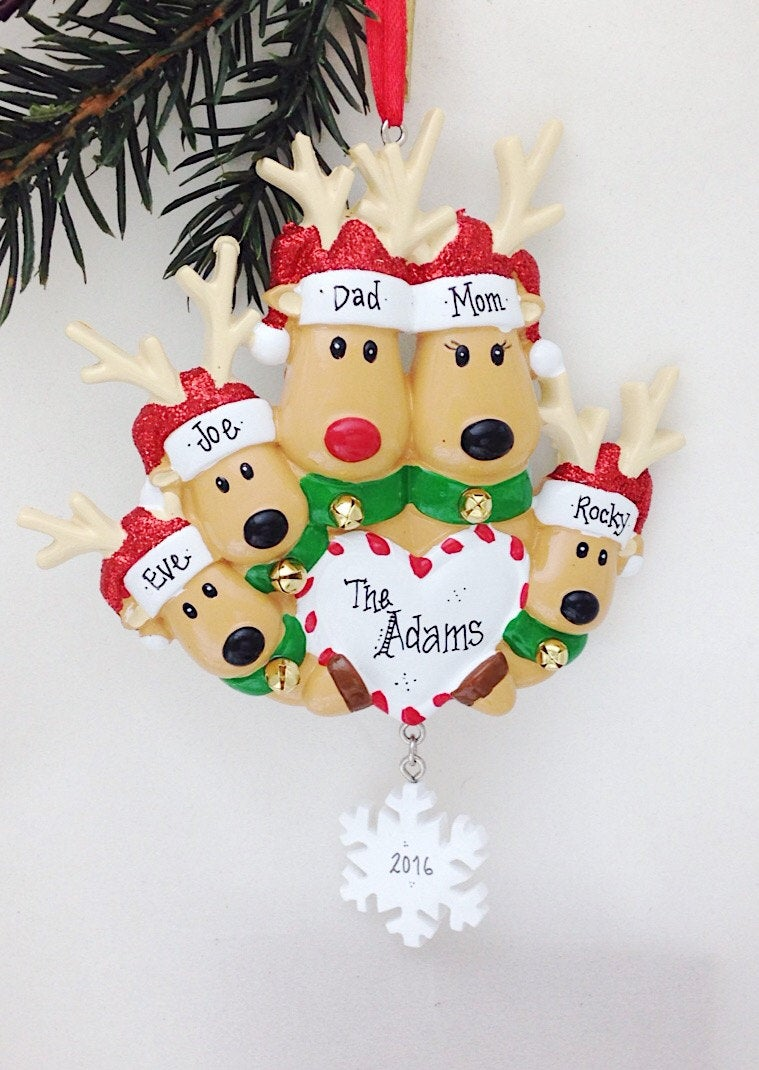 5 Reindeer with Heart and Snowflake Personalized Christmas Ornament
