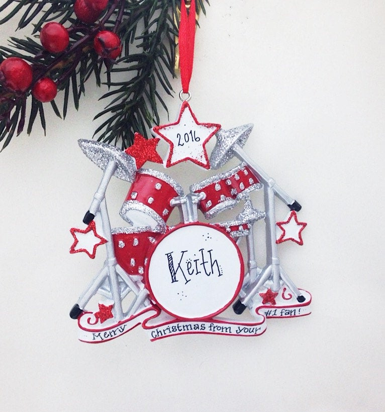 Star Drummer Personalized Christmas Ornament / Drum Set Ornament / Rock-n-Roll / Percussionist Christmas Ornament