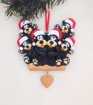 6 Black Bears Personalized Christmas Ornament